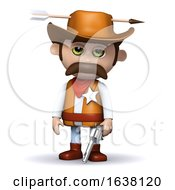 3d Sheriff Hit By An Arrow On A White Background