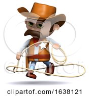 3d Cowboy Sheriff Jumps His Lasso On A White Background