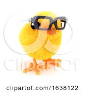 3d Chick In Reading Glasses On A White Background