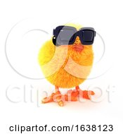 Poster, Art Print Of 3d Easter Chick Looks Cool On A White Background