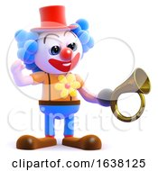 3d Clown Honks His Horn On A White Background