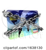 3d Chained Debit Card On A White Background