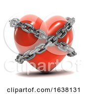 3d Chained Heart On A White Background