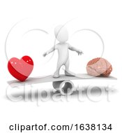 3d Heart And Mind Decision On A White Background
