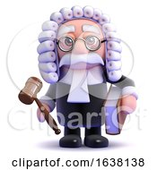 3d Judge Holds A Gaval And Book On A White Background