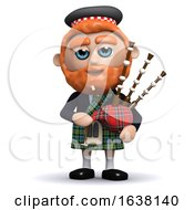 3d Scotsman Plays Bagpipes On A White Background