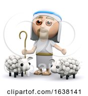 3d Jesus The Shepherd On A White Background
