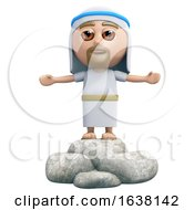 3d Jesus Preaches On A White Background