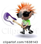3d Punk Smashes Guitar On A White Background