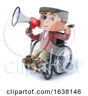 3d Boy In Wheelchair Speaking Through Megaphone On A White Background by Steve Young