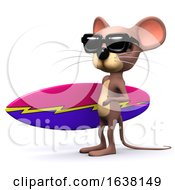 3d Mouse Surfer On A White Background by Steve Young