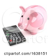 3d Piggy Bank With Calculator On A White Background