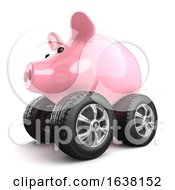 3d Piggy Bank On Wheels On A White Background