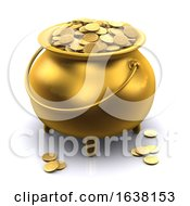 3d Pot Of Gold On A White Background