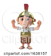 3d Roman Soldier Cheers With Success On A White Background