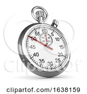 3d Silver Stopwatch On A White Background