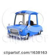 Funny Cartoon 3d Car In Blue On A White Background