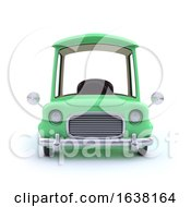 Funny Cartoon 3d Car In Green On A White Background