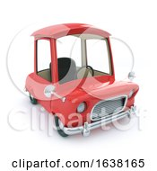 Funny Cartoon 3d Car In Red On A White Background