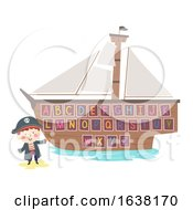 Kid Boy Hook Pirate Ship Alphabet Illustration