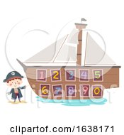 Kid Boy Hook Pirate Ship Numbers Illustration
