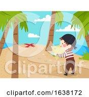 Kid Boy Pirate Find Spot Treasure Map Illustration