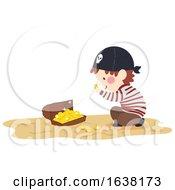 Kid Boy Pirate Found Treasure Chest Illustration
