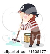Kid Boy Pirate Mop Cleaning Illustration