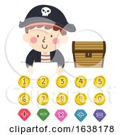 Kid Boy Pirate Numbers Math Operators Illustration