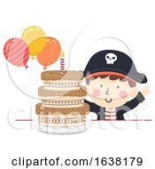 Kid Boy Pirate Party Cake Balloons Illustration