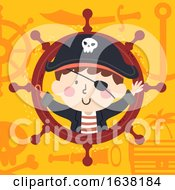 Kid Boy Pirate Steering Wheel Illustration