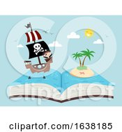 Kid Boy Pirate Story Ship Open Book Illustration
