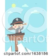 Kid Boy Pirate Top Ship Telescope Illustration