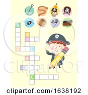 Poster, Art Print Of Kid Boy Pirate Cross Word Puzzle Illustration