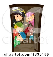 Stickman Kids Pirates Open Door Ship Illustration
