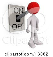 White Person With A Red Head Attached To An OnOff Switch Lever Set To On