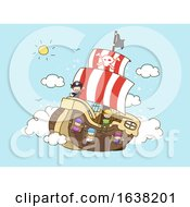 Stickman Kids Pirates Floating Ship Clouds