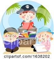 Kids Pirates Treasure Chest Books Illustration
