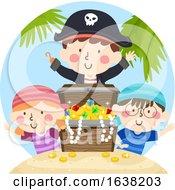 Kids Pirates Treasure Chest Gold Jewels