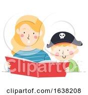 Kid Boy Pirate Mom Read Story Book Illustration