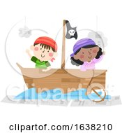 Kids Pirate Ship Recycle Illustration
