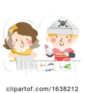 Kids Make Pirate Paper Hats Crayons Illustration