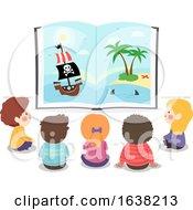 Kids Open Book Pirate Story Illustration