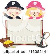 Kids Pirate Open Book Treasure Anchor Illustration