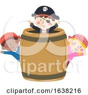 Kids Pirates Barrel Board Wave Illustration