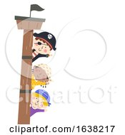 Kids Pirates Border Ship Mast Wave Illustration