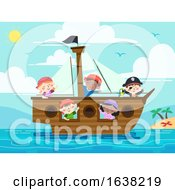Poster, Art Print Of Kids Pirate Ship Wave Sea Illustration
