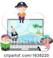 Kids Pirates Laptop Show Read Books Illustration