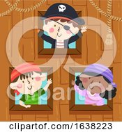 Kids Pirates Ship Window Wave Illustration