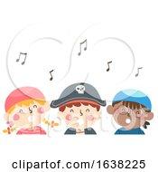 Kids Pirates Singing Music Notes Illustration